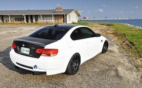 Picture white, bmw, BMW, coupe, white, rear view, e92, trunk lid, carbon fiber