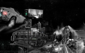 Wallpaper flying machines, cyberpunk, robot, the city, black and white