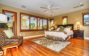 Picture bed, window, mansion, Design, bedroom, chest, Interior, Bedroom