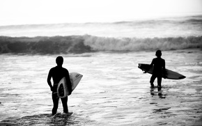 Picture wave, beach, waves, beach, black and white, black & white, extreme sports, surboard, surfers, surfers