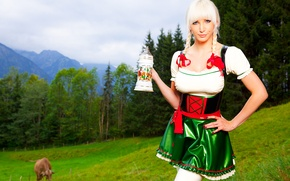Picture nature, meadow, blonde, costume, latex, braids, Susan Wayland, nature, blonde, suit, meadow, latex, pigtails, beer …