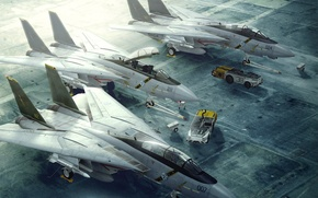 Wallpaper f-14, tomcat, loaders, takeoff, strip, jet, fighter