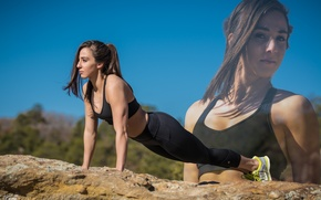Wallpaper pose, workout, fitness, outdoors