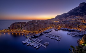 Wallpaper Monaco, Bay, night