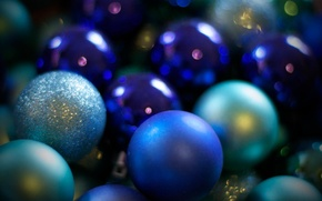 Wallpaper Christmas balls, holiday, merry christmas, Shine, holiday, new year, new year, sequins, blue, blue