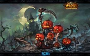 Picture weapons, art, elves, pumpkin, Halloween, Halloween, WoW, World of Warcraft, Cataclysm, swords, art, game wallpapers, ...
