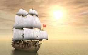 Picture the sky, the sun, the ocean, ship, sailboat, gun, sails, mast