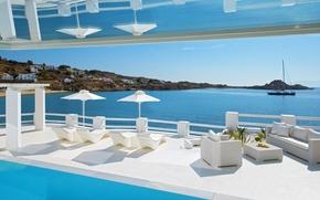 Picture pool, view, Villa, terrace, Mykonos