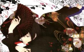 Picture look, flowers, smile, fan, guy, Durarara!, Durarara!, Izaya Orihara, Of Izaya Orihara