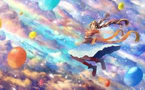Picture the sky, girl, clouds, balls, joy, anime, art, bounin