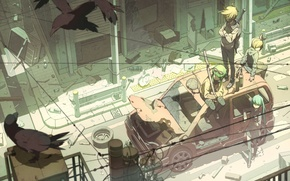Picture machine, birds, the city, weapons, girls, wire, home, art, guys, vocaloid, hatsune miku, kagamine rin, ...