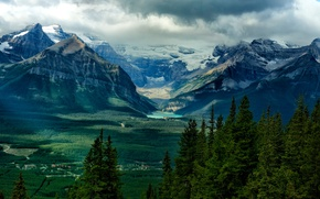 Picture clouds, mountains, home, trees, lake, the sky, valley, forest