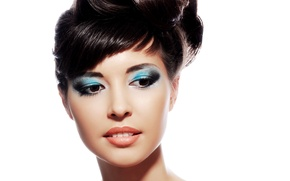 Picture look, girl, portrait, makeup, brunette, hairstyle