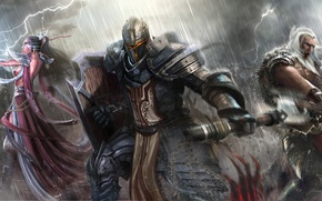 Picture weapons, rain, warrior, art, monsters, MAG, battle, Diablo III, barbarian, Reaper of souls