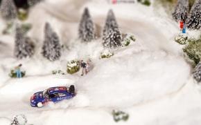 Picture Winter, Blue, Tree, Citroen, WRC, Rally, Rally, Sebastien Loeb, Layout, Diorama, C 4