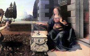 Picture picture, Florence, The Uffizi Gallery, Leonardo da Vinci, Annunciation to 1470-2