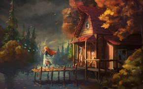 Picture forest, water, girl, house, river, flute