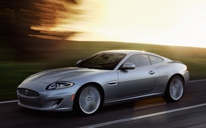 Picture Jaguar, Road, Machine, Jaguar, Grey, Movement, Car, Car, Coupe, Road, Coupe, Silver