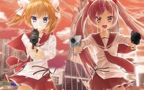 Picture weapons, girls, anime, art, Hidan no Aria, Akari Mamiya, Access Aria Holmes