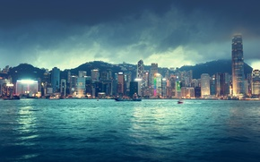 Picture sea, the sky, clouds, landscape, night, city, the city, lights, lights, river, building, ships, Hong ...