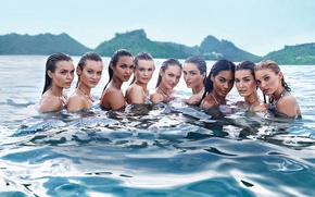 Wallpaper sea, girls, model, wet, in the water, Candice Swanepoel, Elsa Hosk, Victoria's Secret Angel, Behati ...