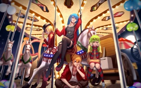 Picture girls, anime, art, carousel, guy, vocaloid, hatsune miku, kagamine rin, kagamine len, gumi, wei ji