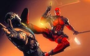 Picture rendering, Deadpool, mortal kombat, Sub-Zero, marvel comics, Wade Wilson