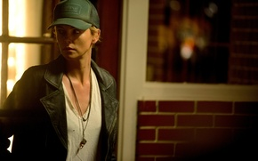 Picture look, background, Charlize Theron, Charlize Theron, leather jacket, Dark Places