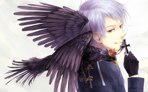 Picture cross, anime, gloves, guy, Raven, red eyes, military uniforms, Axis Powers: Hetalia, Prussia