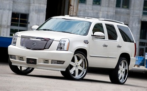 Picture white, tuning, the building, Windows, white, wheels, drives, Cadillac, cadillac, toned, escalade, the Escalade