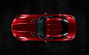 Picture Mercedes-Benz, Red, AMG, SLS, Supercar, Top View