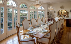 Picture design, table, chairs, mirror, chandeliers, dining room, serving