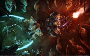 Wallpaper battle, magic, starcraft 2, fire
