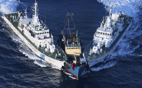 Picture sea, ships, Japan, the offender, detention, Board