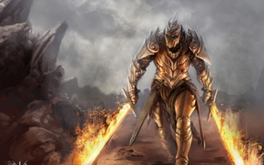 Picture dragon, human form, armor, battle axe, cave