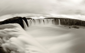 Picture waterfall, black and white, beautiful