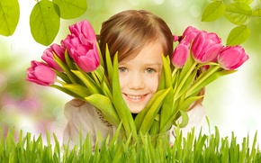Picture flowers, girl, child, bouquet, smile, branches, tulips, leaves, grass