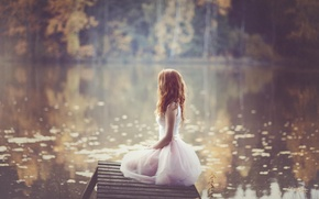 Picture autumn, water, girl, nature, blur, dress, redhead