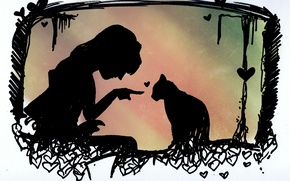 Picture cat, girl, animal, silhouettes, heart