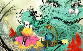 Picture butterfly, plants, cell, dress, Hatsune Miku, Vocaloid, long hair, closed eyes