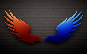 Picture blue, red, wings, the dark background