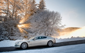 Picture Rapid, snow, Aston Martin, Aston Martin, Rapide, sedan, trees, winter, side view, the sun, the ...
