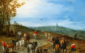 Picture picture, A landscape with Travelers, Jan Brueghel the elder