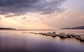 Picture sea, clouds, reflection, stones, the evening, horizon, along
