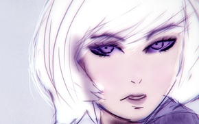 Picture girl, eyes, anime, purple, white hair