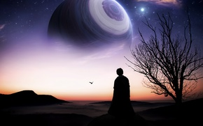 Picture fiction, tree, planet, horizon, art, silhouette