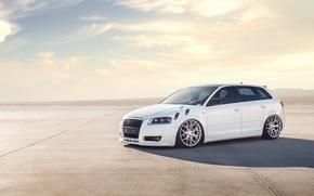 Picture white, Audi, Audi, profile, white, tuning, stance