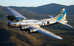 Wallpaper retro, bomber, Flying Fortress, mountains, flying fortress, the sky, B-17