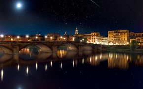 Wallpaper the sky, stars, night, bridge, the city, lights, reflection, river, the moon, meteor, photographer, Michael ...