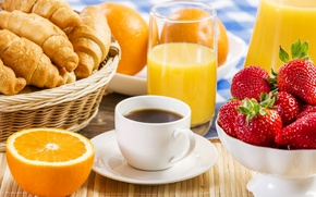 Picture coffee, oranges, strawberry, juice, plate, cakes, Coffee, orange, delicious, strawberry, croissants, Juice, Growing